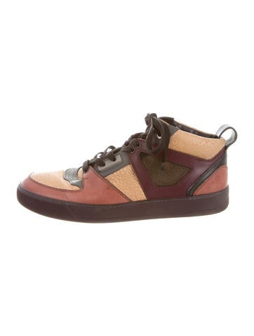 Lanvin Leather Paneled Mid-Top Sneakers
