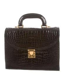 prada brown leather handbag - Prada Alligator Handle Bag - Handbags - PRA74055 | The RealReal
