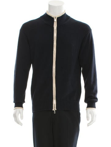Loro Piana Mock Neck Zip-Up Sweater None