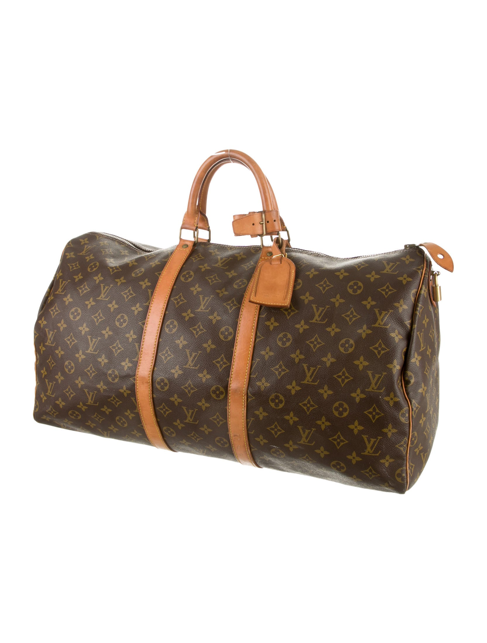 louis vuitton vintage keepall 55 luggage lou54116 the realreal. Black Bedroom Furniture Sets. Home Design Ideas