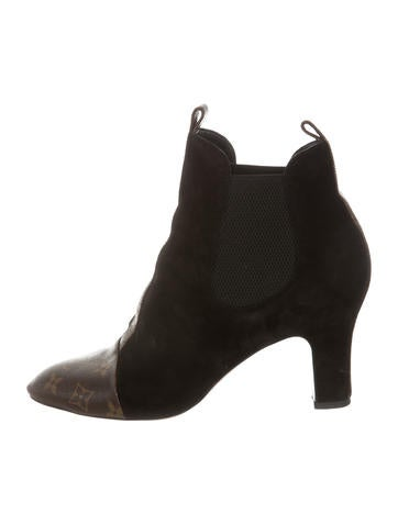 Louis Vuitton Monogram-Accented Ankle Boots