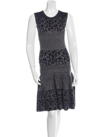 Louis Vuitton Leopard Patterned Silk Dress None