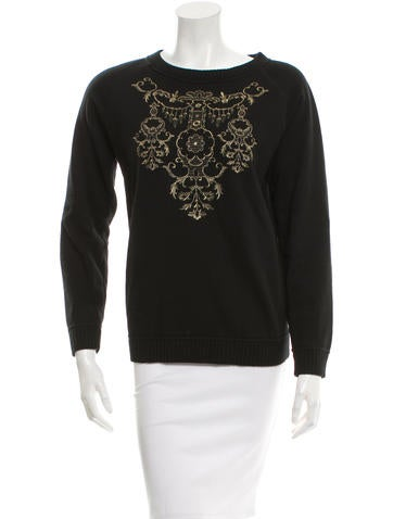 Marchesa Embroidered Knit Sweater None