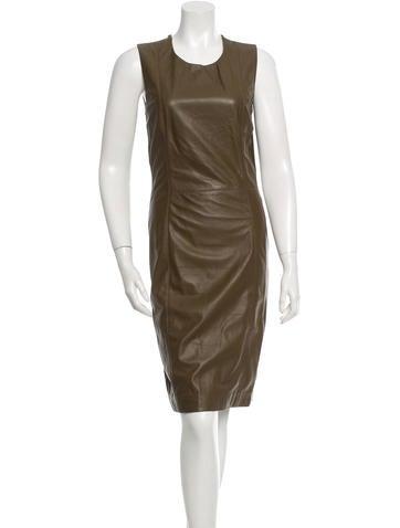 Maison Martin Margiela Wool Leather-Paneled Dress None
