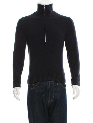 Maison Martin Margiela Mock Neck Half-Zip Sweater None