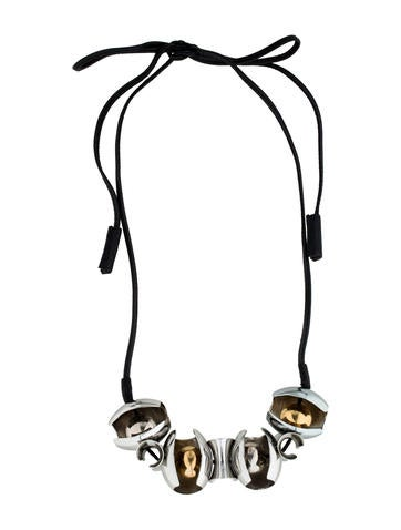 Marni Leather & Metal Bead Necklace None