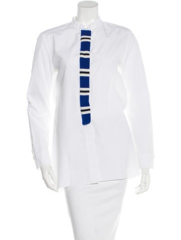 Marni Cashmere-Paneled Button-Up Top None