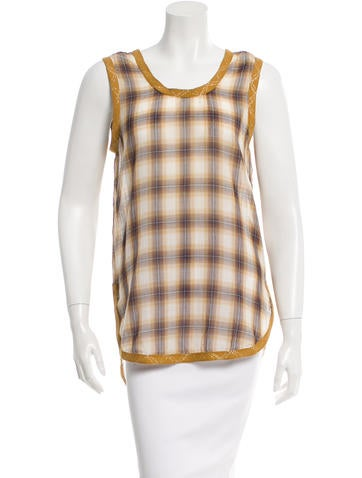 Marc Jacobs Metallic-Trimmed Plaid Top None