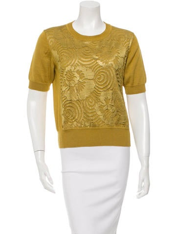 Marc Jacobs Short Sleeve Lace-Embellished Sweater None