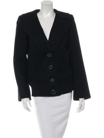 Marc Jacobs Rib Knit Trimmed Wool Coat None