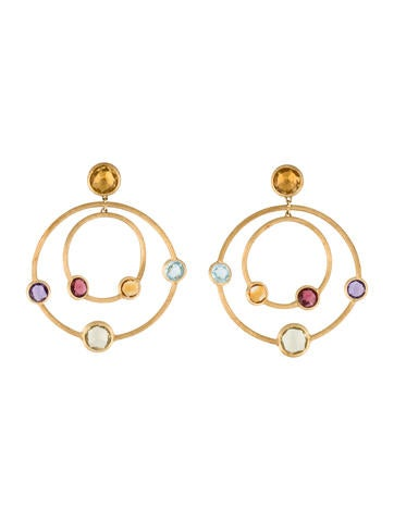 Marco Bicego Colored Stone Double Hoop Drop Earrings