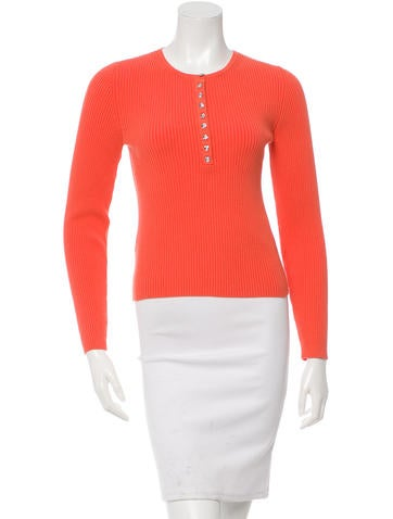 Michael Kors Rib Knit Jewel Button Closure Sweater None