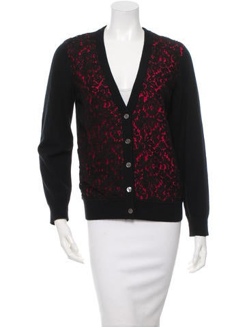 Michael Kors Lace-Trimmed Cashmere Cardigan None