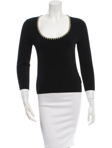 Michael Kors Embroidered Rib Knit Top None