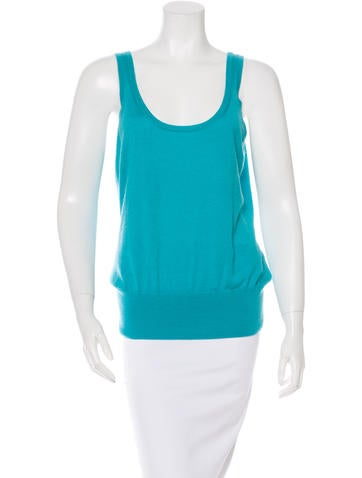 Michael Kors Cashmere Silk-Blend Sleeveless Top None