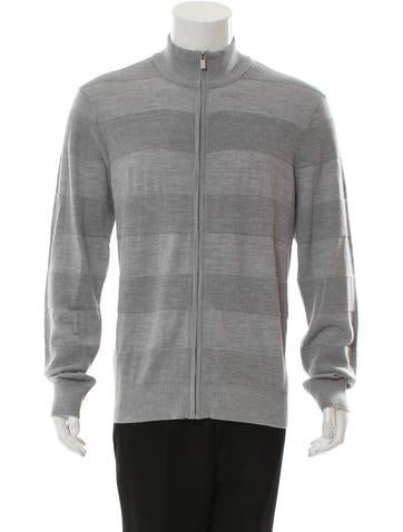 Michael Kors Rib Knit-Trimmed Zip-Up Sweater None
