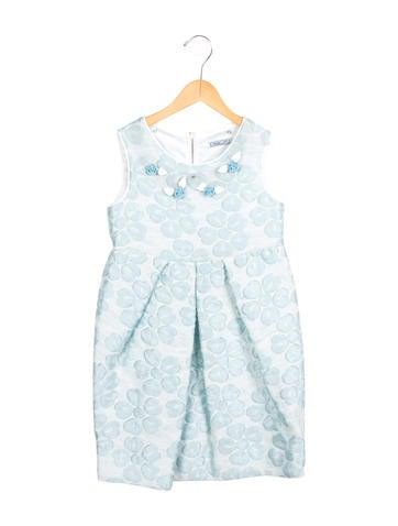 Mimi So Girls' Jacquard Floral Dress None
