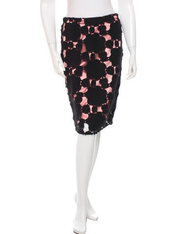 Miu Miu Textured Knee Length Skirt None