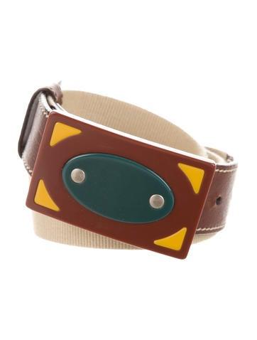 Miu Miu Leather-Trimmed Buckled Belt None