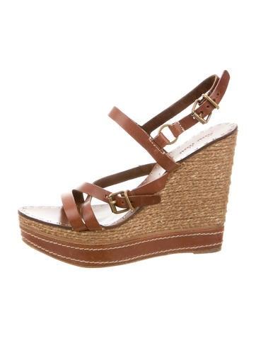 Miu Miu Leather Platform Wedge Sandals None