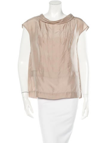 Miu Miu Pleated Silk Top None