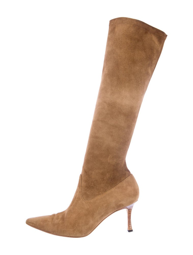 manolo blahnik suede boots shoes moo24710 the realreal