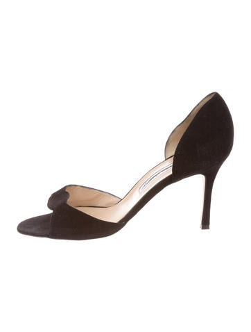 Manolo Blahnik Suede Peep-Toe Pumps