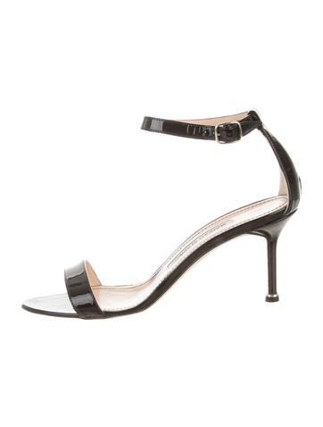 Manolo Blahnik Chaos Patent Leather Ankle Strap Sandals