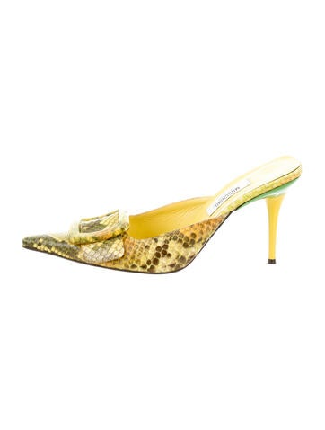 Moschino Snakeskin Print Slide Pumps None