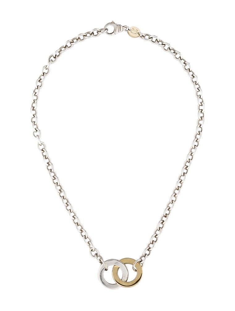 movado two tone circle link necklace necklaces