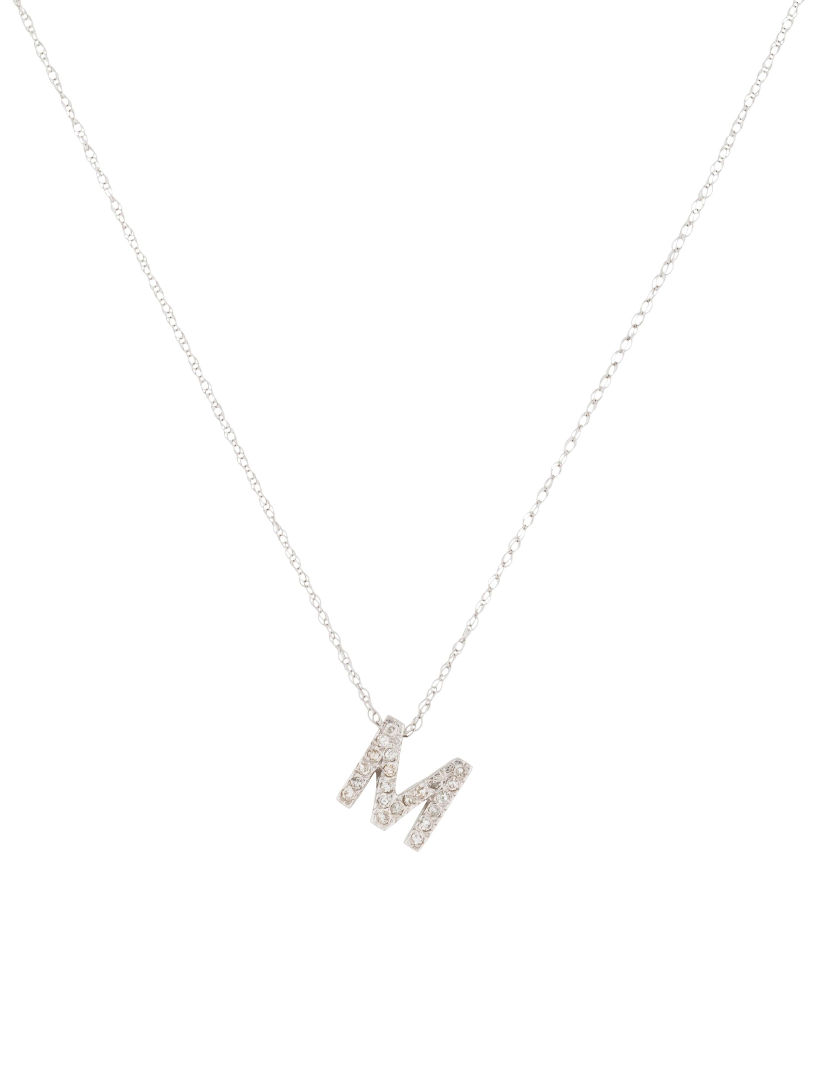 14k diamond letter m pendant necklace necklaces With letter m diamond necklace