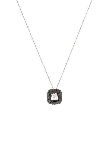 Black and White Square Diamond Pendant Necklace