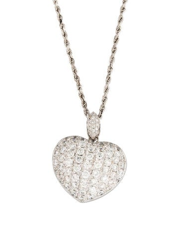 18K Diamond & Sapphire Pavé Heart Necklace None