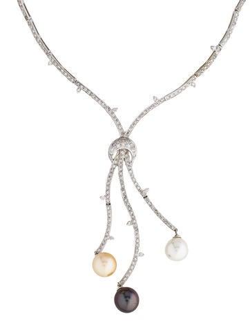18K Triple Pearl Drop Necklace