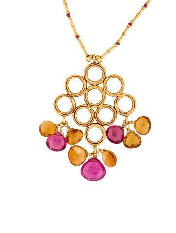 22K Pink Tourmaline & Citrine Bead Necklace