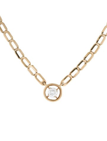 14K Diamond Solitaire Pendant Necklace