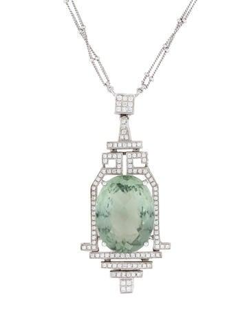 18K Prasiolite & Diamond Pendant Necklace