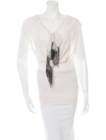 Nina Ricci Cashmere and Silk Blend Knit Top None