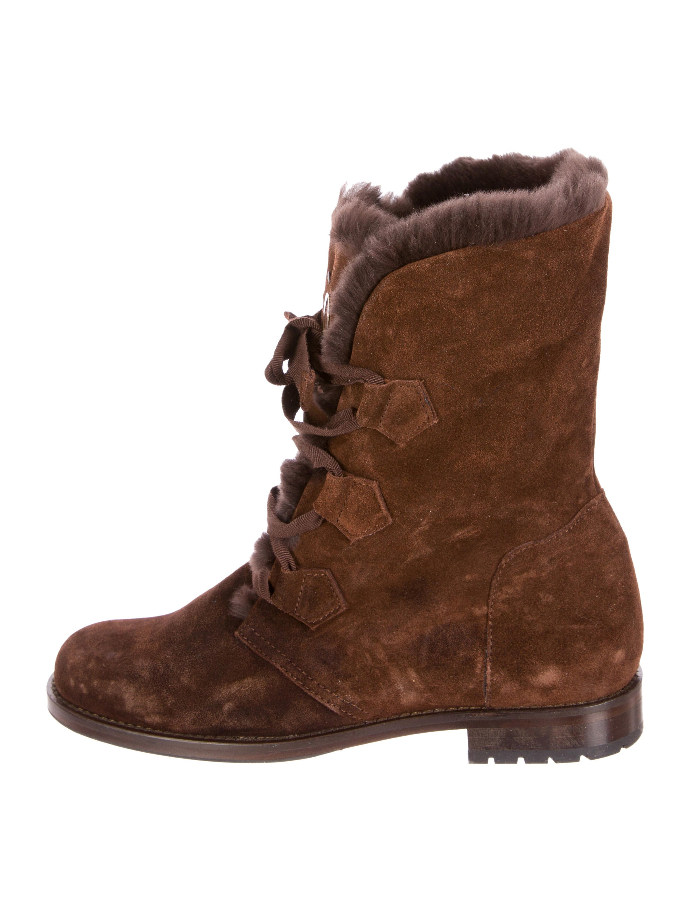 o jour shearling trimmed suede ankle boots shoes