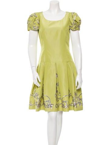 Oscar de la Renta Sequin Embellished Silk Dress