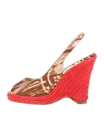 oscar de la renta canvas espadrille wedge sandals shoes