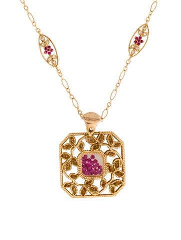 18K Floating Ruby & Diamond Pendant Necklace None