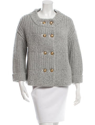 Peter Som Double-Breasted Rib Knit Cardigan None