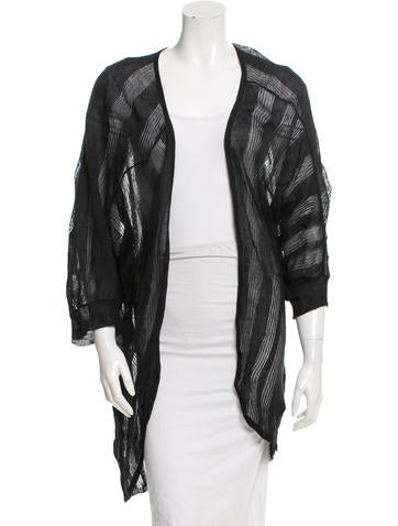 Piazza Sempione Metallic Open Front Cardigan None