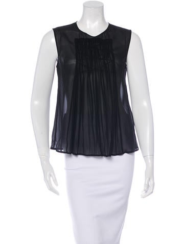 Piazza Sempione Pleated Silk Top None