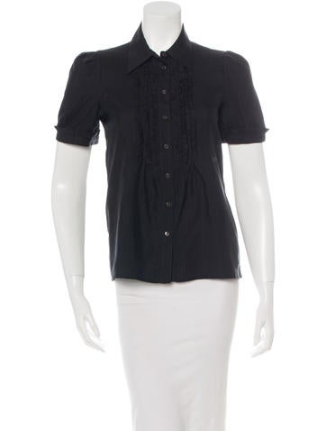 Prada Silk Ruffle-Trimmed Top None