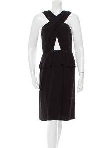 Prada Ruffle-Trimmed V-Neck Dress None
