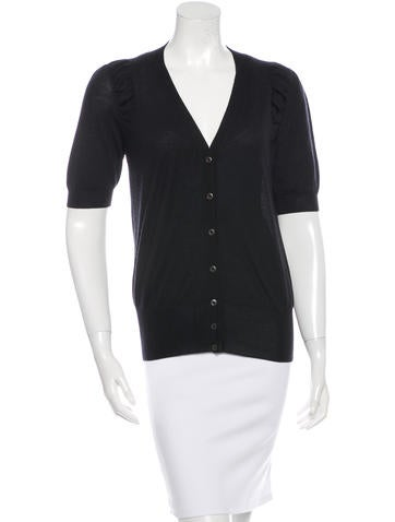 Prada Rib Knit Short Sleeve Cardigan None