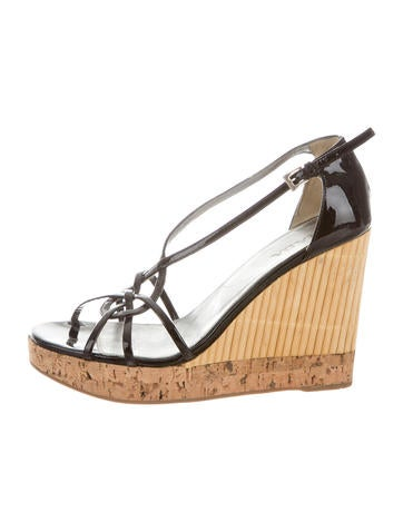 Prada Bamboo-Accented Patent Wedges None