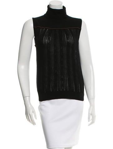 Prada Knit Sleeveless Turtleneck Top None